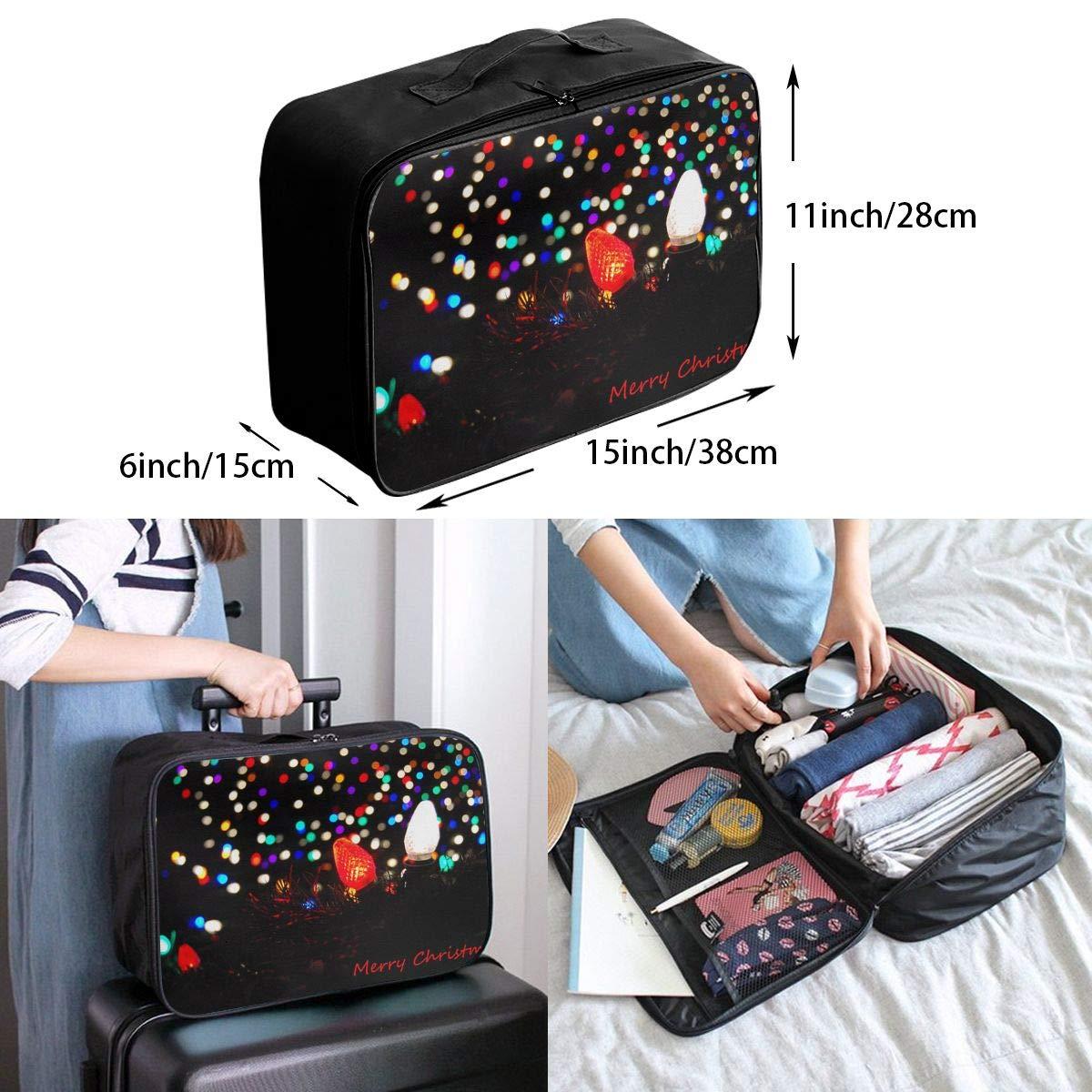 Travel Luggage Duffle Bag Lightweight Portable Handbag Merry Christmas Large Capacity Waterproof Foldable Storage Tote