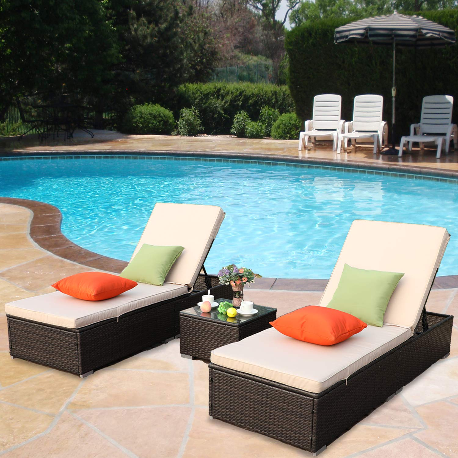 Fabulous Htth Outdoor Chaise Lounge Easy To Assemble Chaise Longue Thick Comfy Cushion Wicker Lounge Chairs 3 Pcs Chaise Lounge Chair Set For Interior Design Ideas Pimpapslepicentreinfo