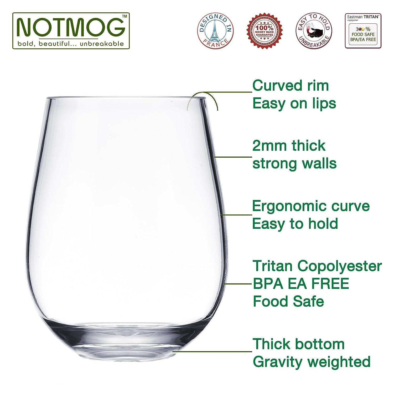 Plastic Wine Glasses Set Of 8 Stemless Red White Wine Glass