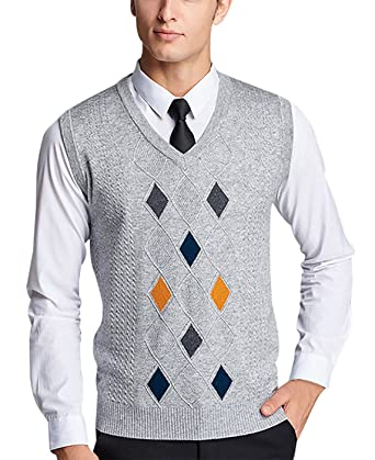 Pull sans Manches Hommes Tricot Jacquard Losanges Multicolore Col V Casual  Classique Pull-Over Slim 1f701b55f152