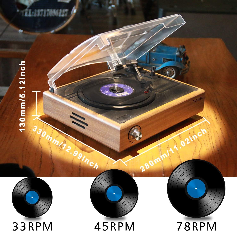 TAKNI Retro Tocadiscos Giradiscos de 3 Velocidades Salidas RCA con Altavoces Est/éreo Madera Natural Bluetooth Record Player