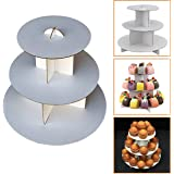 "Adorox 3-Tier (12""W x 10""H) White Round Cardboard Cupcake Stand Dessert Tower Treat Stacker Pastry Serving Platter Food Display (Round Stand (1Pc))"