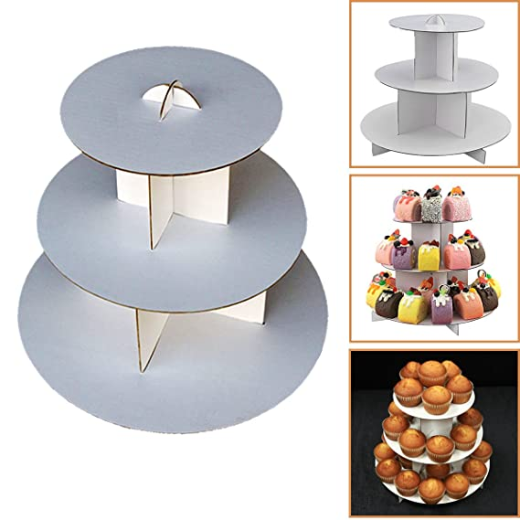 "Adorox 3 Tier (12""W X 10""H) White Round Cardboard Cupcake Stand Dessert Tower Treat Stacker Pastry Serving Platter Food Display (Round Stand (1 Pc)) by Adorox"