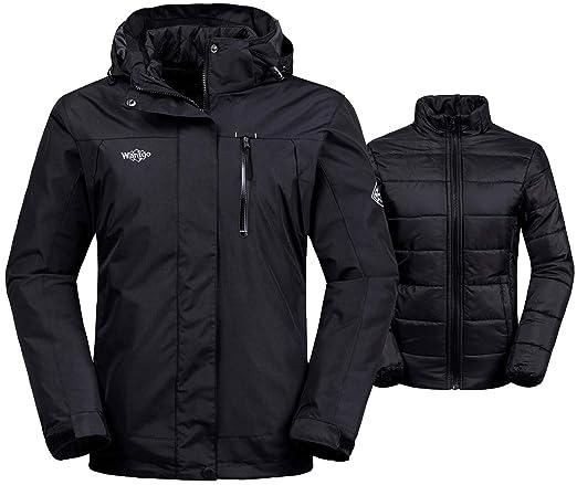 Wantdo Women's 3-in-1 Waterproof Ski Jacket Interchange Windproof Puffer Liner Warm Winter Coat Insulated Short Parka