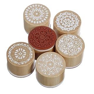 BestMall Juego de 6 sellos redondos de goma y madera con diseño floral