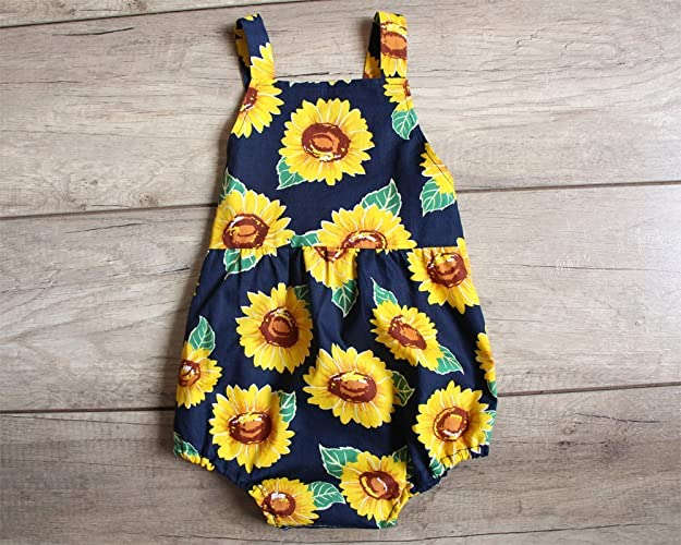fd82c4e566e Amazon.com  SALE Navy Sunflower Baby Girl Romper Bubble Romper Birthday Gift   Handmade