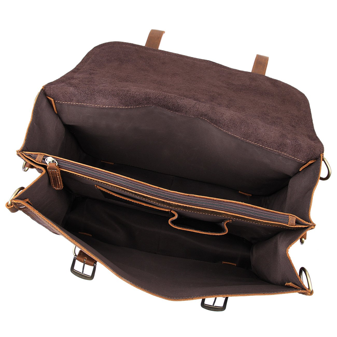 Texbo Men's Thick Cowhide Leather Messenger Bag, 16.5'' Laptop Briefcase by Texbo (Image #3)
