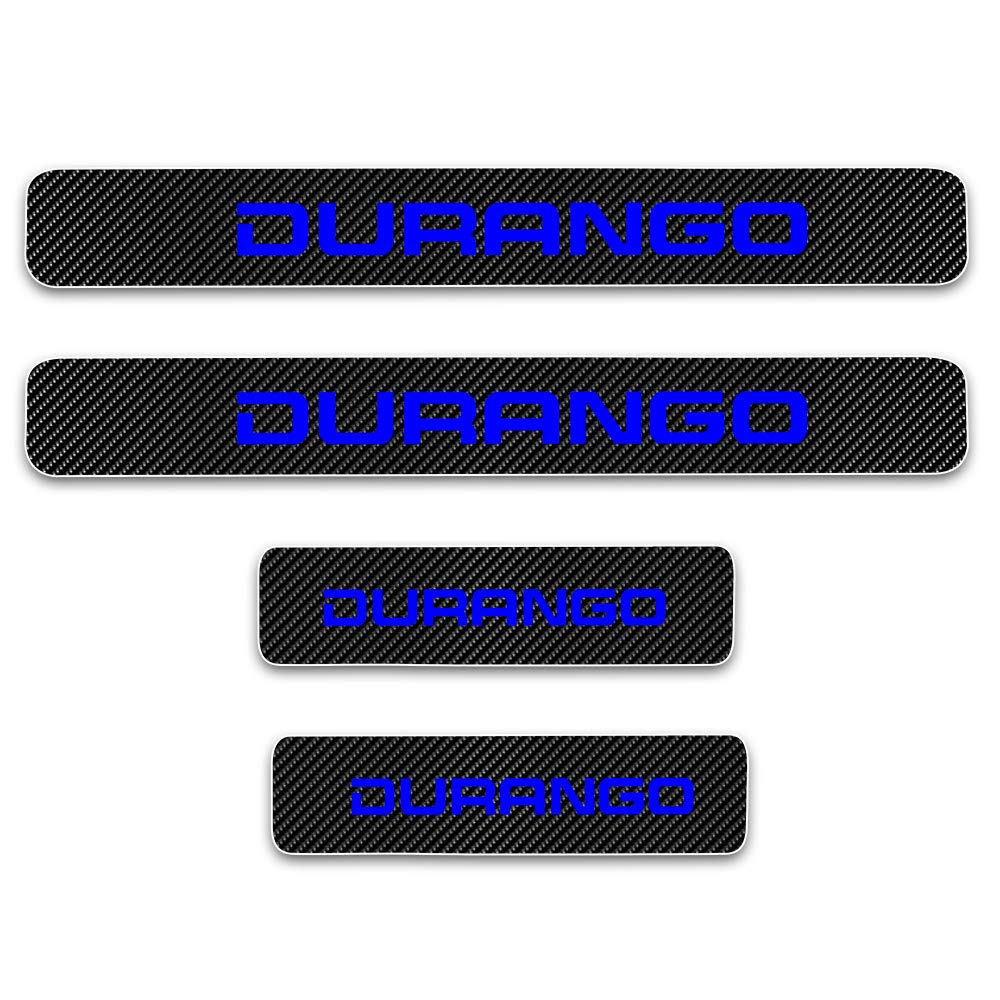 SENYAZON Car Threshold Pedal Sticker for Dodge Durango Decoration Scuff Plate Carbon Fibre Vinyl Sticker Car Accessories car-Styling Blue
