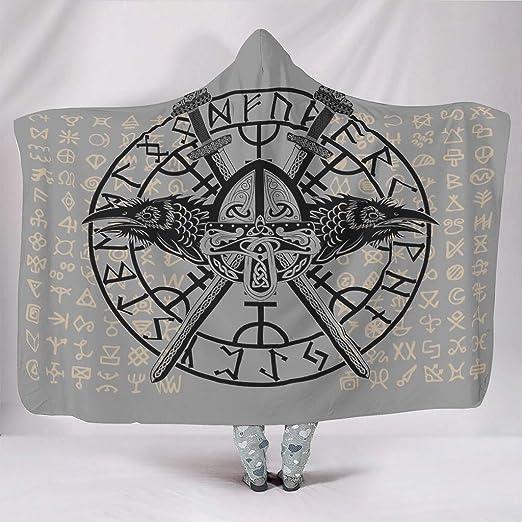 Bestwe - Capa de Tatuaje Vikingo con Gorro, Supersuave, prémium ...