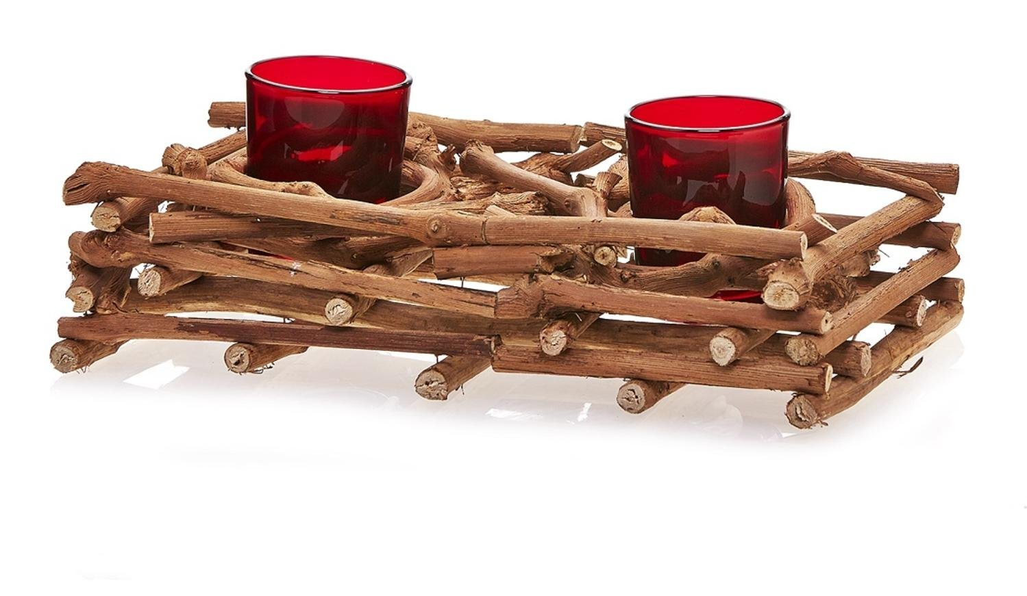 CC Home Furnishings Pack of 2 Country Rustic Natural Brown Wood Branch Christmas Double Candle Holders 10''