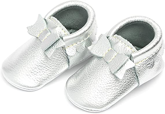 Rubber Mini Sole Leather Ballet Flat Bow Toddler Girl Moccasins Infant//Toddler Sizes 3-7 Freshly Picked Multiple Colors