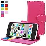 Custodia per iPhone 5c, Snugg - Custodia Rosa a Libretto in Ecopelle con Garanzia a Vita per Apple iPhone 5c