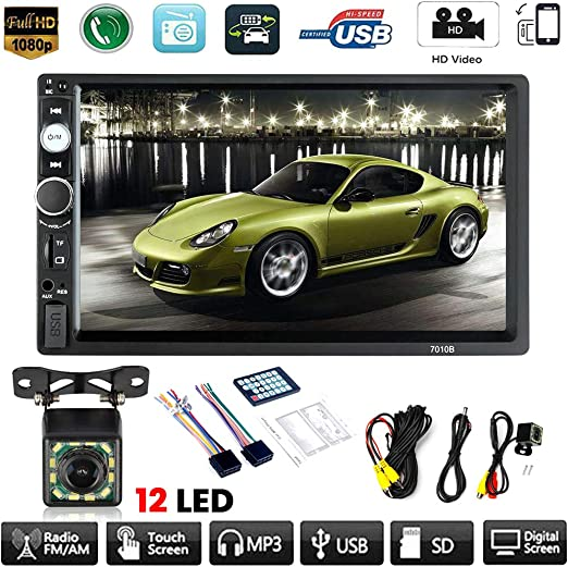 "7/"" Touch Screen FM Bluetooth Radio Audio Stereo 2 Din Car MP5 Video Player Camer"