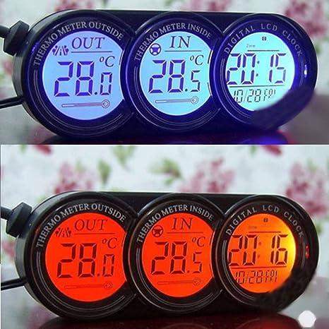 Xunqi tablero Mini coche en/temperatura exterior termómetro reloj pantalla digital LCD con retroiluminación azul