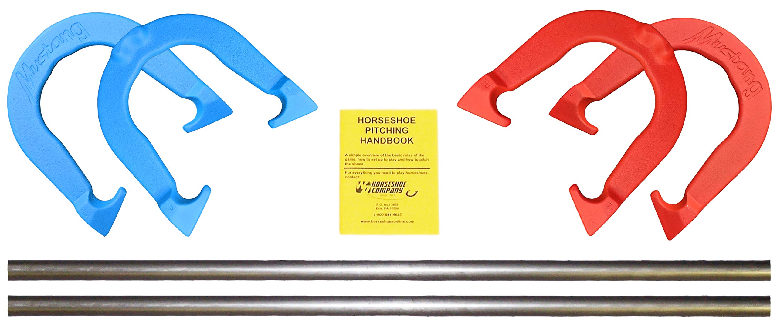 Mustang Professional Pitching Horseshoes Game Set- Made in USA! (Red & Blue- Complete Game Set (4 Shoes, 2 Stakes & Rule Book))