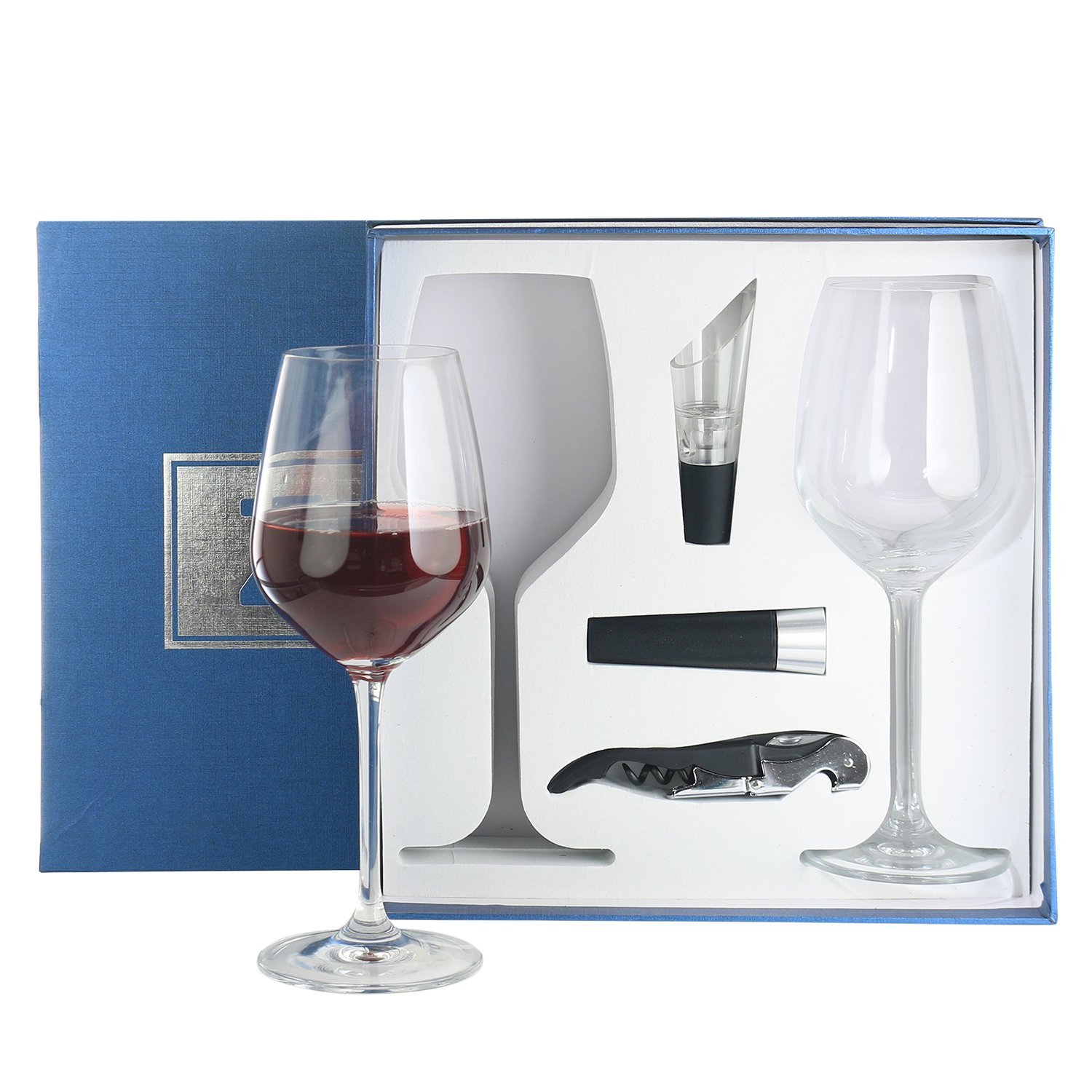 Zalik Wine Glasses Gift Set - Set Of 2 Wine Glasses, Wine Opener, Wine Stopper And Wine Aerator Pourer For Enhanced Flavor - Perfect Gift For Every Occasion - Wine Accessories - Elegant Gift Box by Zalik (Image #6)