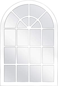 MCS Countryside Arched Windowpane Wall Mirror, White