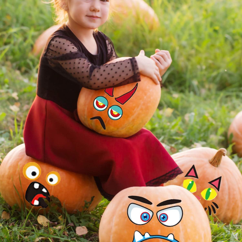 Halloween Pumpkin Sticker 32 Packs Pumpkin Decorating for Kids Halloween Pumpkin Face Stickers Craft Party Favor