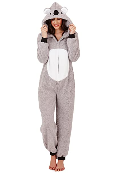 Pijama mono polar para mujer, longitud completa, con capucha Grey - Koala L
