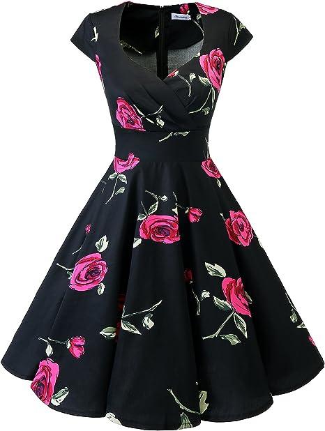 TALLA XS. Bbonlinedress Vestido Corto Mujer Retro Años 50 Vintage Escote Black Red Brose XS