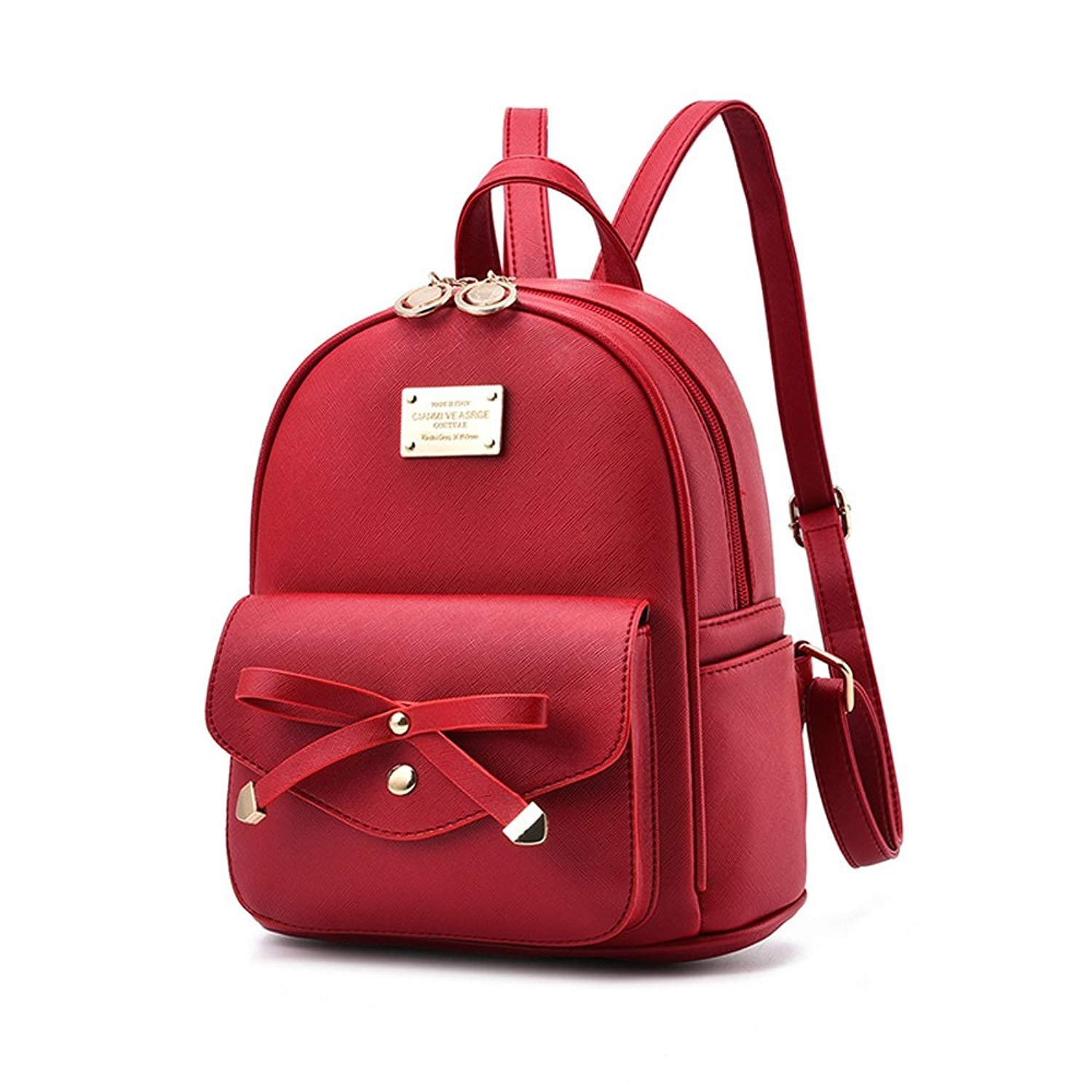 Girls Leather Mini Backpack Purse Cute Bowknot Fashion Small Backpacks Purses for Teen Women