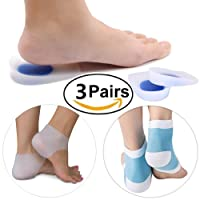 Gel Heel Cups Heel Cushion, Back Heel Sleeve and Moisturizing Socks Set Plantar Fasciitis Relieve Pain and Pressure, All 3 Pairs, Each for Shoes, Feet and Walking at Home