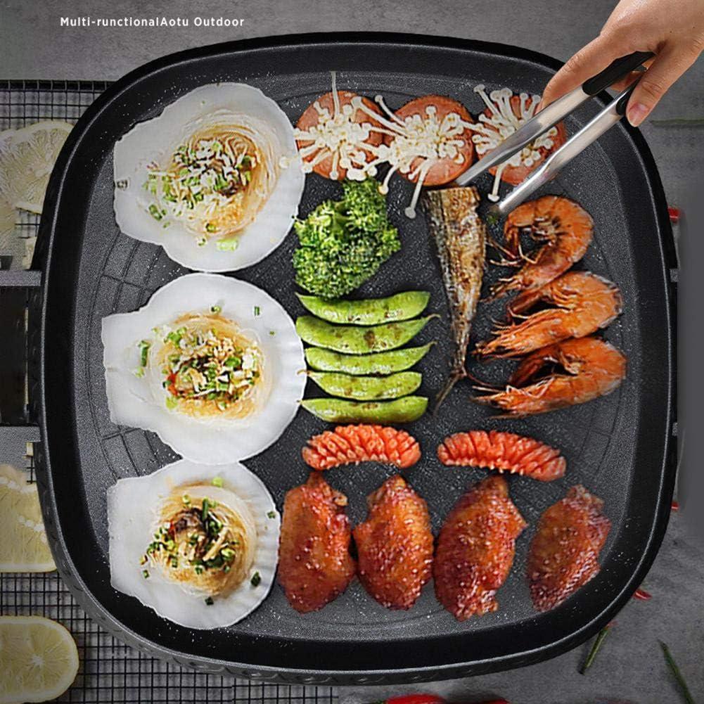 Lifesongs Grillpfanne Square Grill Pan Im Koreanischen Stil Mit Maifan Stone Beschichtete Oberfl/äche Antihaft Rauchfreie Herdplatte F/ür Indoor Outdoor BBQ
