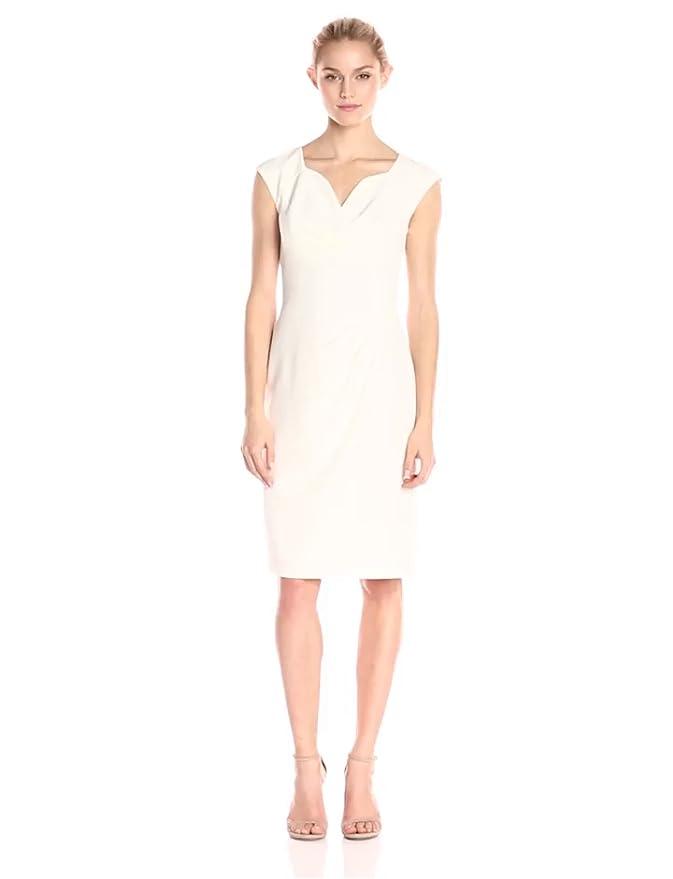 9583462d Amazon.com: Adrianna Papell Women's Pleated Surplus V-Neck Sheath Dress:  Clothing