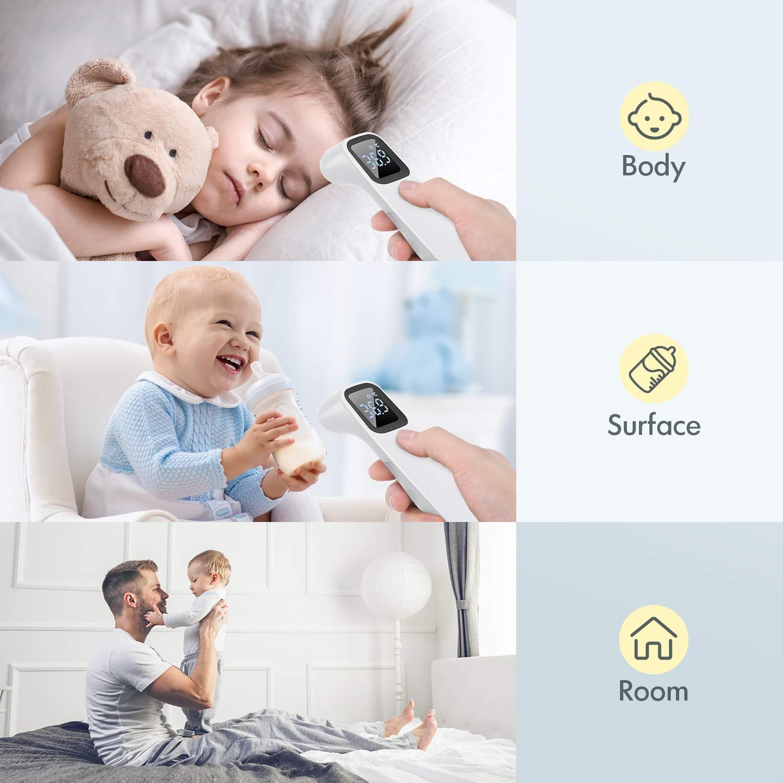 Thermometer Fieber Infrarot Ber/ührungsloses Digitales Stirnthermometer F/ür Erwachsene//Kinder//Babys Handk/örper Thermometer Fieberalarm Genaue Sofortige Ablesung Thermometer Roffie