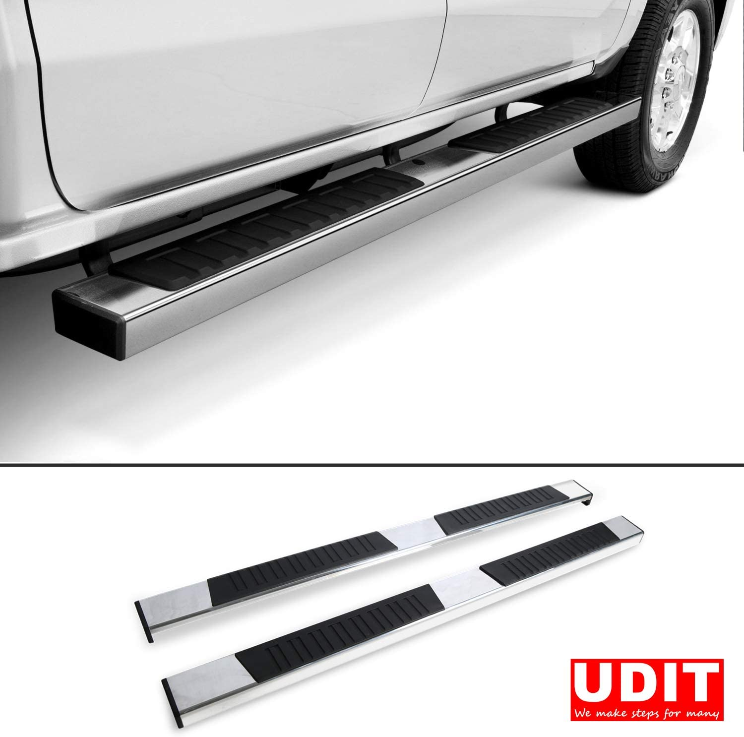 Nerf Bar Side Steps Rail UDIT Off Road 6 Aluminum Polished Running Board Custom Fit 2019-2020 Chevy Silverado /& GMC Sierra 1500 Extended Cab//Double Cab Rocker Panel Mount Excl 2019 1500LD Model