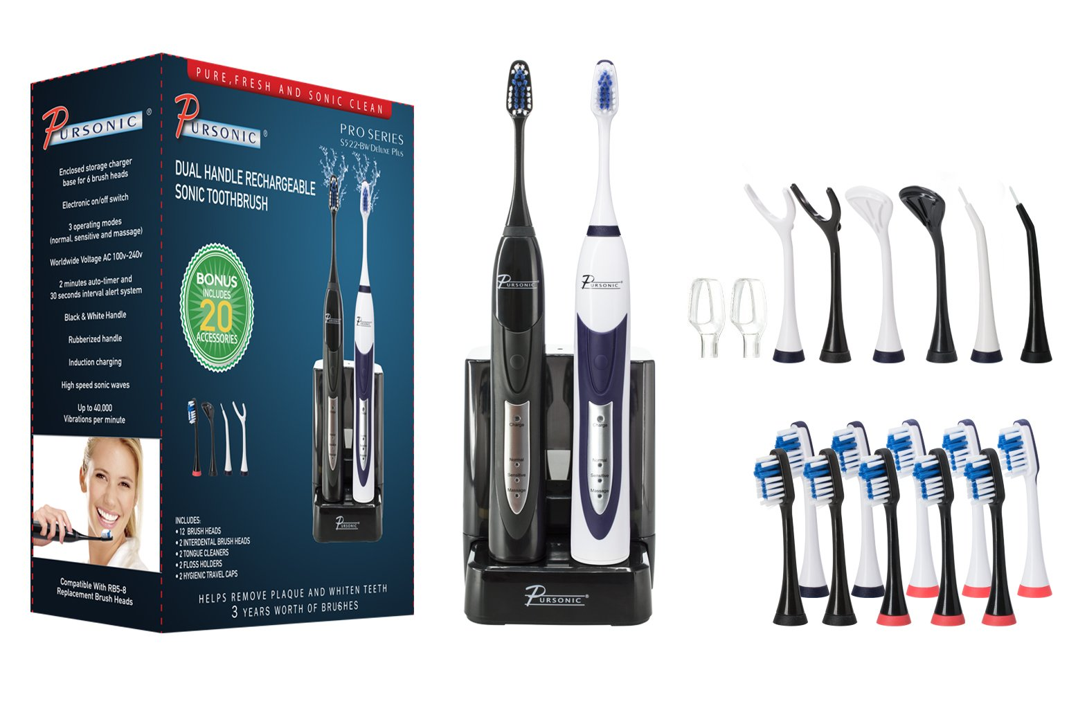 PURSONIC S522 Dual Handle Ultra High Powered Sonic Electric Toothbrush with Dock Charger, 12 Brush Heads & More! (Black and White)
