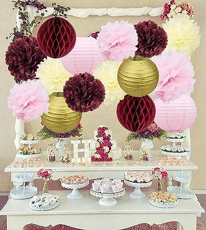 Amazon Com Bridal Shower Decorations Burgundy Pink Cream
