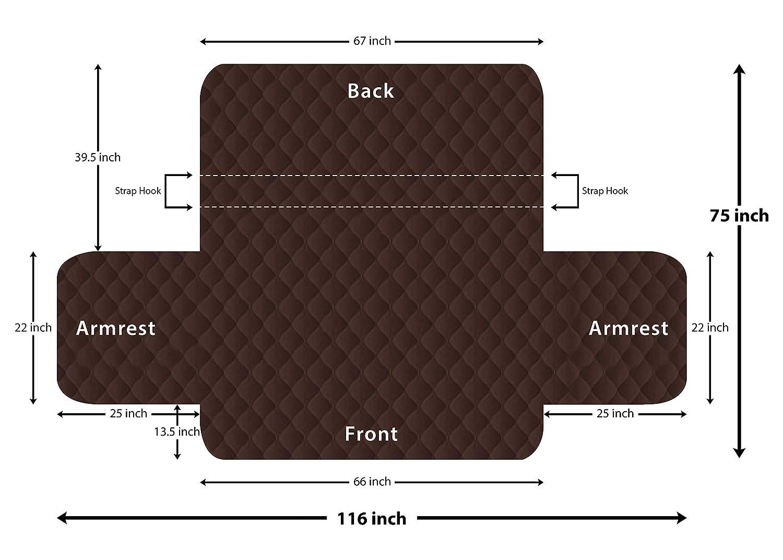 Marron//Beige - - de R/ésistant /à la salet/é Housse de Protection pour Animaux Utopia Bedding Housse de canap/é r/éversible 3 Places 190x279 cm