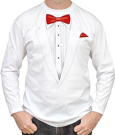 NEW - de color blanco diseño de esmoquin de formación con estela roja adorno en forma de lazo - para hombre blanca de algodón de T-camisa de manga larga para: Amazon.es: Ropa