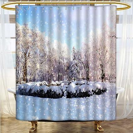 Custom Made Shower Curtains.Amazon Com Shower Curtains 3d Digital Printing Snowy Snow