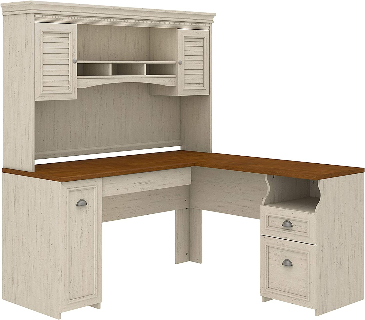 Bush Furniture Fairview L Shaped Desk with Hutch in Antique White