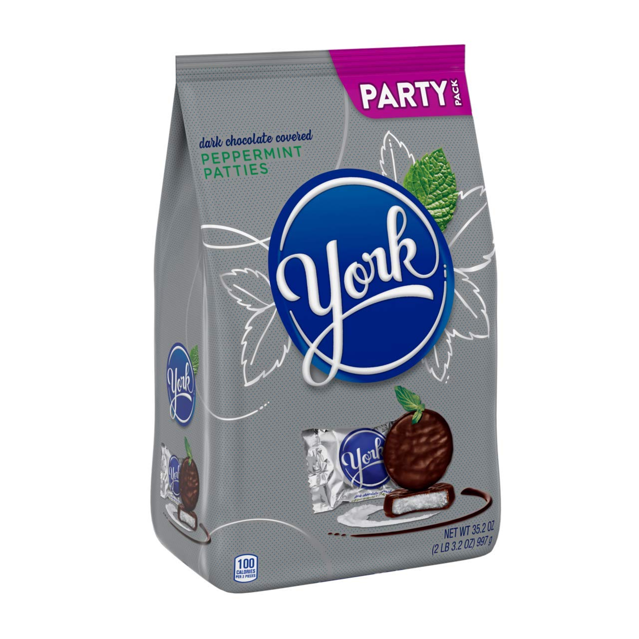 YORK Dark Chocolate Peppermint Patties, Valentines Day, Shareable Stand up party bag, bulk candy, 2 Pounds
