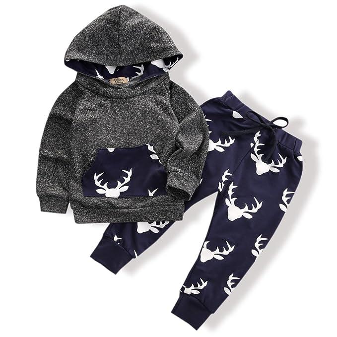 af5b897401d88 Toddler Infant Baby Boys Deer Long Sleeve Hoodie Tops Sweatsuit Pants  Outfit Set