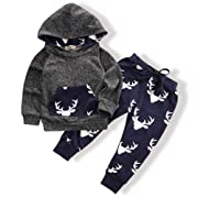 Toddler Infant Baby Boys Deer Long Sleeve Hoodie Tops Sweatsuit Pants Outfit Set(0-3 Months)