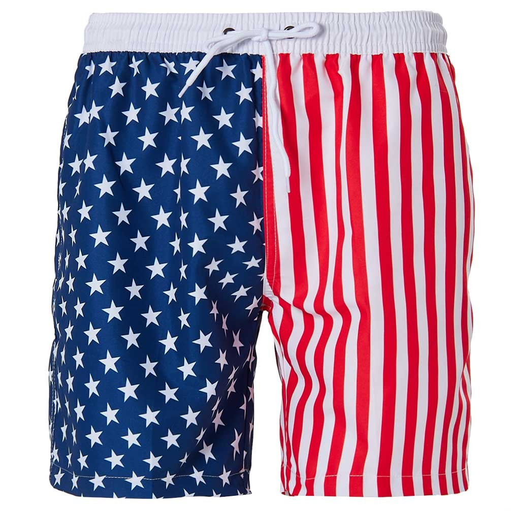Mens Boardshorts Summer Beach Board Shorts Stars and Striped Flag Day Swimshorts with Mesh Lining XXL