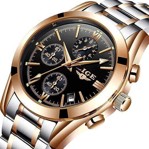 LIGE - Reloj analógico de cuarzo para hombre, resistente al agua, de acero,