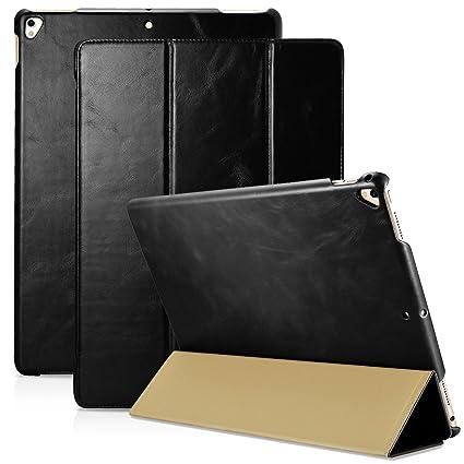 separation shoes e00ef 5c027 iPad Pro 12.9 2017 Leather Flip Case, icarercase Vintage Series Genuine  Leather Tri-folding Smart Wake/ Sleep & Kickstand Ultra Thin Slim Fit Folio  ...
