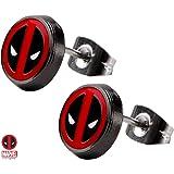 Deadpool Enamel Logo Round Stud Earrings 316L