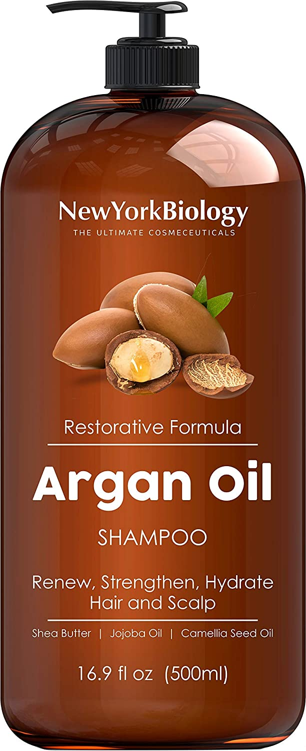 New York Biology Moroccan Argan Oil Shampoo – All Natural - Moisturizing and Volumizing Professional Series Restorative Formula – Infused with Keratin and Sulfate Free - 16.9 fl oz