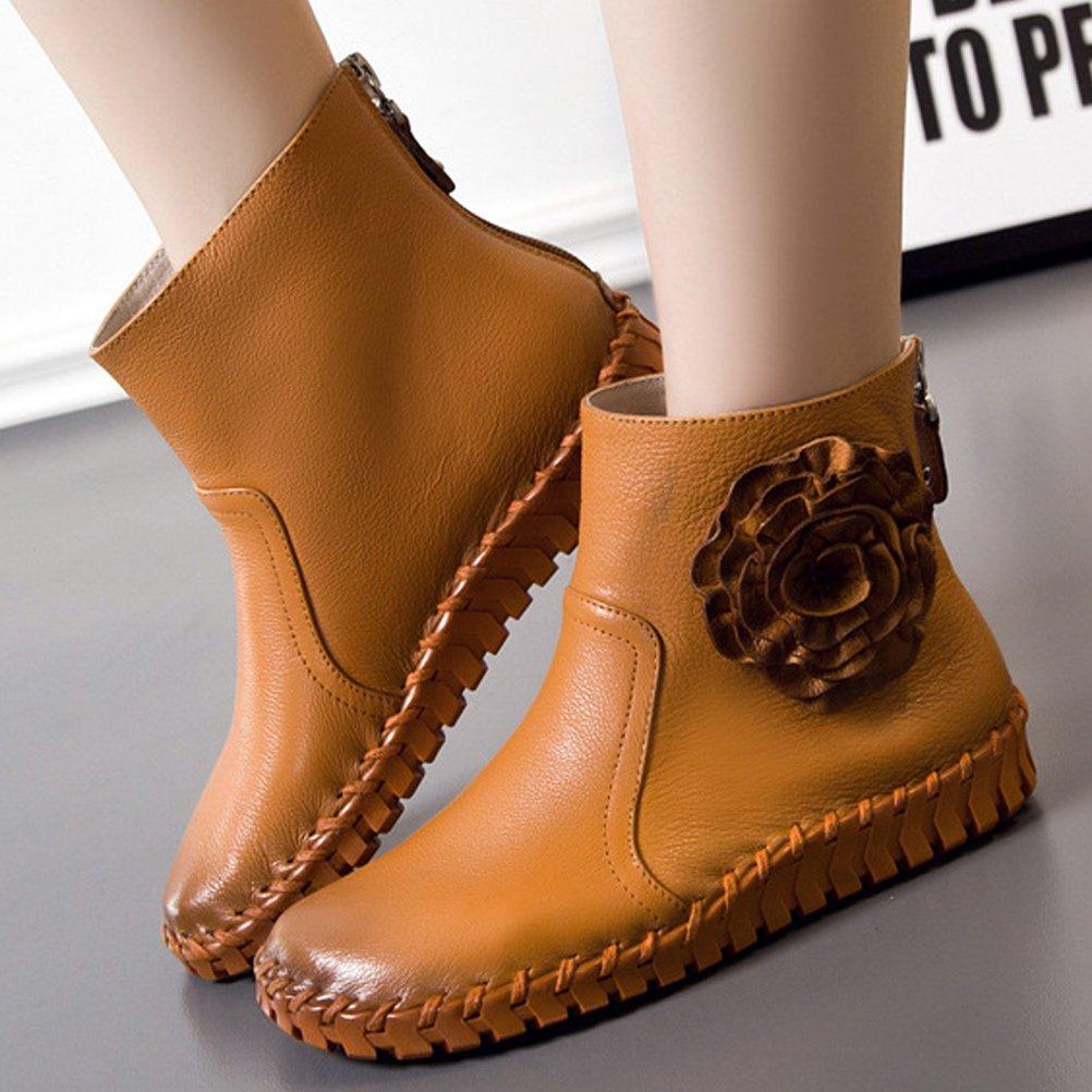 153a3616e4886c MatchLife Damen Vintage Frühling Sommer Leder Flach Ankle Boots Style2 Gelb  EU36 CH37  Amazon.de  Schuhe   Handtaschen