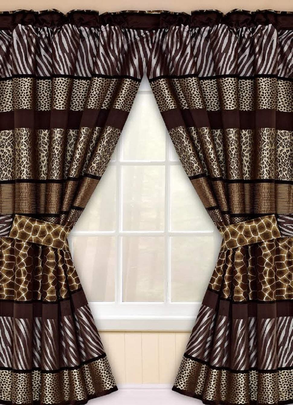 Popular Bath 781212 Safari Stripes, Window Curtain, Chocolate