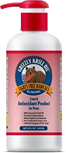 Grizzly Wild Antarctic Krill Oil Powerful Antioxidant | All-Natural Cat and Dog Food Supplement Fights Free Radicals | Highly Concentrated, Made in USA