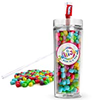 JelliJoy Candy Filled Tumbler - Candy Coated Marshmallows Assorted Candies Jar -...