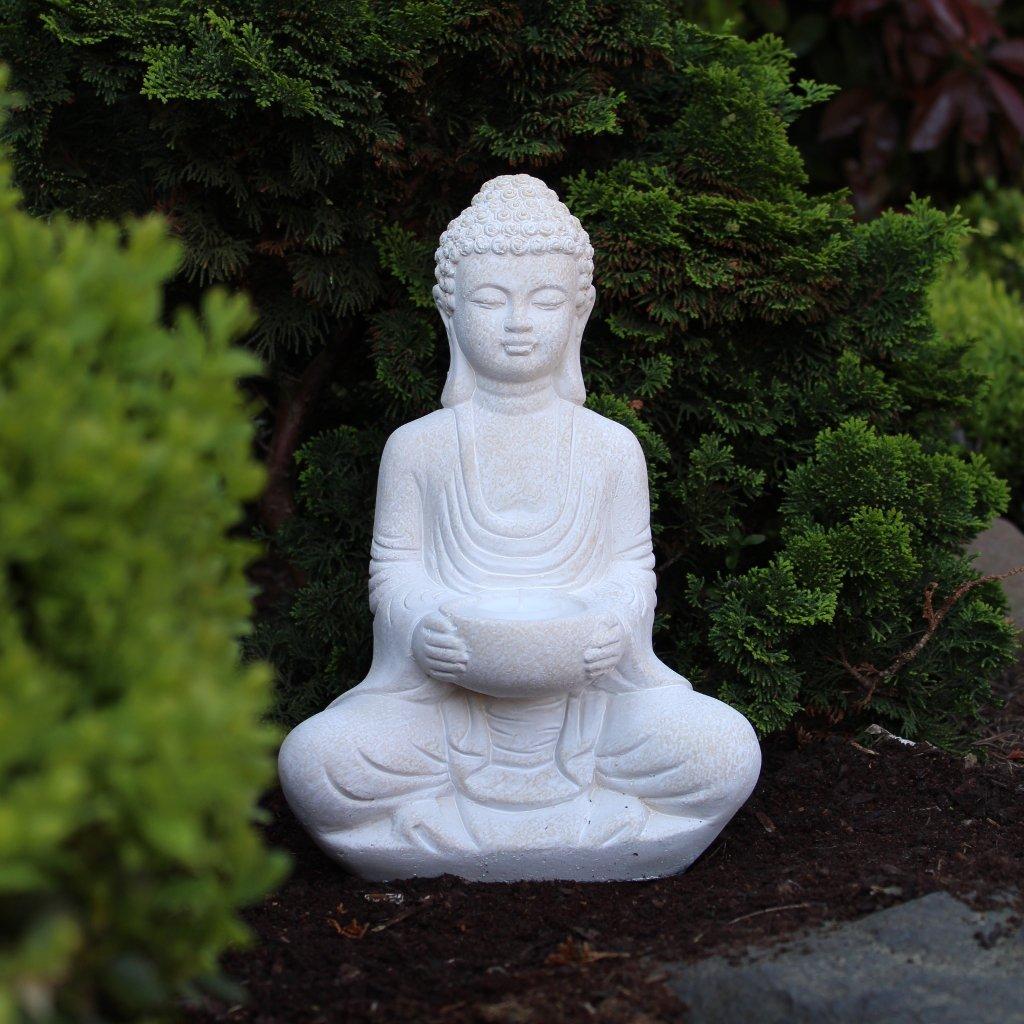 Buddha Deko-Figur Aus Stein Sitzend 30cm Skulptur Mit Teelichthalter ...