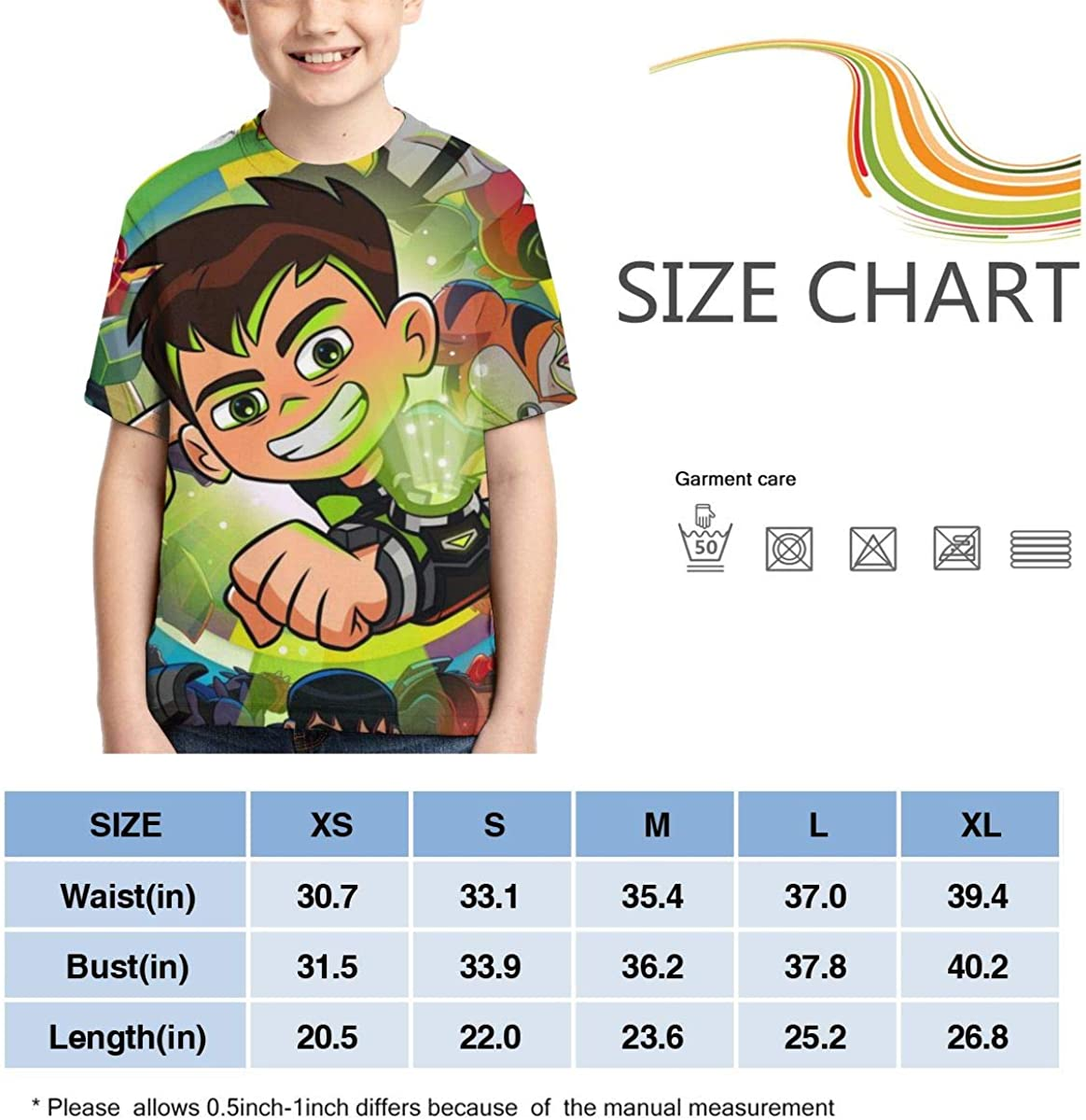 Hatstng Ben-10 and Alien Hero Boys Girls 3D Print Crew Tee Youth Short Sleeve T-Shirt Tanks Tops